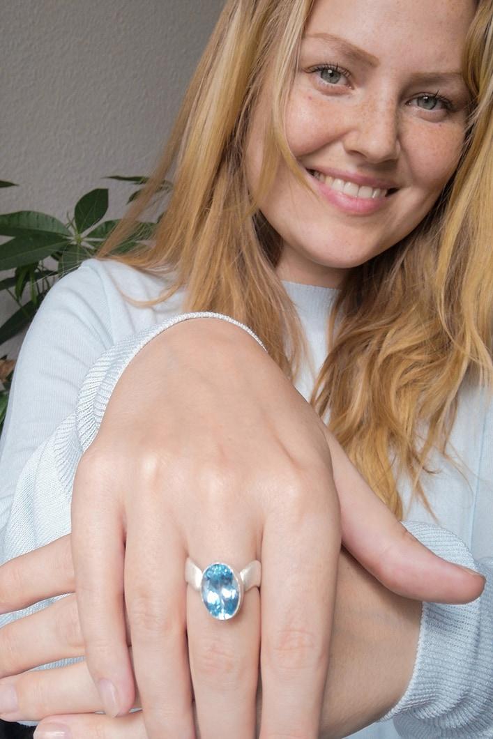 Blauer Stein Ring