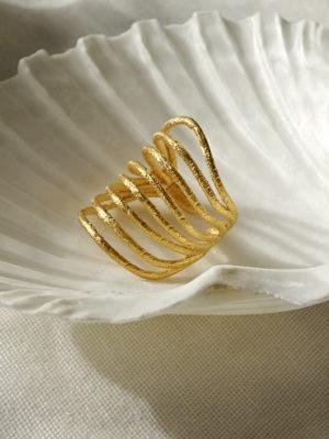Goldring. Designerring. ring aus gold. Designring aus dem 3d Drucker. Außergewöhnlicher Schmuck.